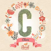 Vintage floral monogram made of green leafs and bright flowers in vector. Stylish letter C can be used for posters, cards, invitations, blogs, websites, backgrounds and any other stylish designs