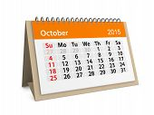 Monthly Calendar For Year 2015. October