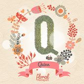 Vintage floral monogram made of green leafs and bright flowers in vector. Stylish letter Q can be used for posters, cards, invitations, blogs, websites, backgrounds and any other stylish designs