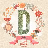 Vintage floral monogram made of green leafs and bright flowers in vector. Stylish letter D can be used for posters, cards, invitations, blogs, websites, backgrounds and any other stylish designs