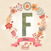 Vintage floral monogram made of green leafs and bright flowers in vector. Stylish letter F can be used for posters, cards, invitations, blogs, websites, backgrounds and any other stylish designs