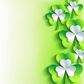 St. Patrick's Day Card With Gray, Green Leaf Clover