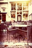 Empty Street Cafe Terrace In Autumn City