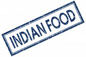 Indian Food Blue Square Stamp Isolated On White Background