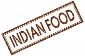 Indian Food Brown Square Stamp Isolated On White Background