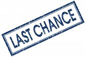 Last Chance Blue Square Stamp Isolated On White Background