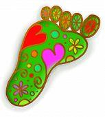 Green Foot Print Doodle