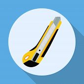 Cutter Knife Flat Style Icon