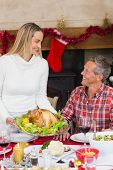Woman serving roast turkey to her husband at home in the living room
