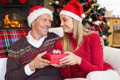 Smiling couple in santa hat holding present at home in the living room