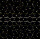 Yellow And Black Hexagon Patterned Fabric Background