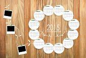 2015 Calendar template. Vector illustration.