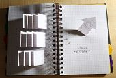stock photo of applique  - Applique paper with building and solar panels in notebook - JPG