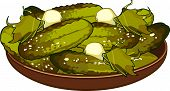 Pickled Cucumbers On A Platter.