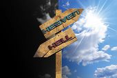 stock photo of jesus sign  - Wooden directional sign with two arrows in opposite direction with text heaven and hell on blue and black sky with clouds and sun rays - JPG