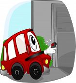 image of garage  - Mascot Illustration of a Car Opening the Garage with a Remote Control - JPG