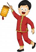 foto of national costume  - Illustration of a Boy Dressed in a Chinese Costume Carrying a Paper Lantern - JPG