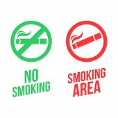 Постер, плакат: No Smoking And Smoking Area Signs