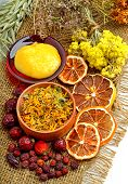 foto of tansy  - ?alendula flower oats immortelle flower tansy herb honey wild rose dried lemon on s - JPG