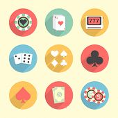 stock photo of poker machine  - Colorful set of Casino elements including - JPG