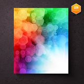picture of diffraction  - Colorful vibrant rainbow abstract pattern with a bokeh of geometric hexagons above a bright white sunburst  - JPG