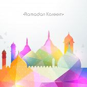 foto of occasion  - Shiny colorful illustration of mosque for the occasion of Islamic holy month of prayers - JPG