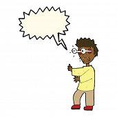 image of terrifying  - cartoon terrified boy with speech bubble - JPG