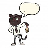 image of dead mouse  - cartoon business cat with dead mouse with speech bubble - JPG