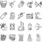 stock photo of paintball  - Set of black flat line vector icons for paintball and airsoft equipment and outfit on white background - JPG