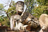 picture of buddha  - Statue buddha sleep and sit Wat Phra Kaeo in Kamphaeng Phet Thailand - JPG