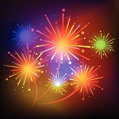picture of firework display  - vector fireworks Display for new year and all party - JPG
