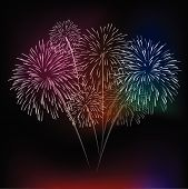 pic of firework display  - vector fireworks Display for new year and all party - JPG