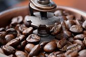 image of spit-roast  - Freshly roasted coffee beans in the mill - JPG
