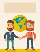 stock photo of partnership  - Two lucky hipster Caucasian businessmen with beard happily standing - JPG