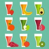 picture of fruit shake  - Fresh smoothie vector concept - JPG