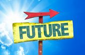 picture of past future  - Future sign with sky background - JPG