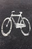 pic of bike path  - Symbol of bike path imprinted on the asphalt - JPG