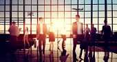 picture of commutator  - Airport Business Travel Walking Commuting Concept - JPG
