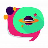 picture of earth mars jupiter saturn uranus  - Saturn Planet Flat Icon With Long Shadow - JPG