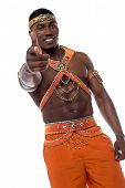 picture of samba  - Male samba dancer pointing to the camera - JPG
