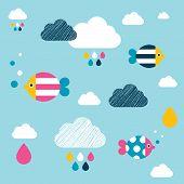 stock photo of wall cloud  - Kids Wall Paper Pattern - JPG