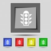 foto of traffic signal  - Traffic light signal icon sign on the original five colored buttons - JPG
