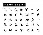 stock photo of netball  - Illustration Collection of 35 World Sport Icons on White Background - JPG