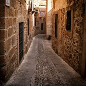 picture of cobblestone  - Detail of narrow cobblestone alley in Caceres  - JPG