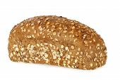 pic of whole-grain  - loaf of whole grain bread isolated on white - JPG
