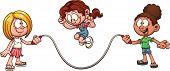 stock photo of jump rope  - Girls playing jump rope - JPG