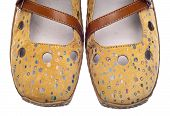 pic of mary jane  - Pair of Trendy Yellow Shoes with Dots Isolated on White - JPG