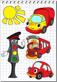 foto of traffic rules  - Set of cartoon transport  - JPG
