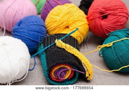 Colored Balls Of Yarn. Rainbow Colors. All Colors. Yarn For Knitting.