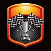 racing checkered flags and trophy on display crest